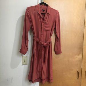 Ann Taylor XSP burnt orange tie dress long sleeve